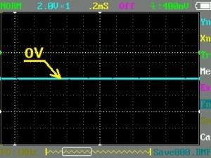 信号未入力のオシロ画像