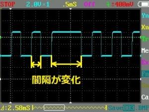 リモコンから出る信号幅の異なる波形