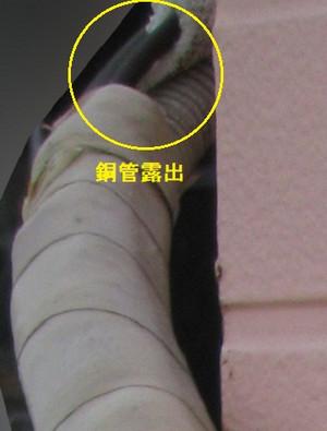 銅管が露出