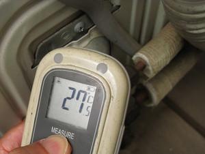 往き側のバルブ温度