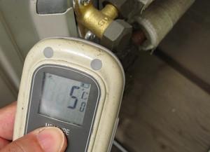 戻り側のバルブ温度
