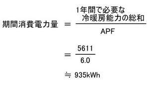 2.8kWのエアコンでAPF6.0の期間消費電力量
