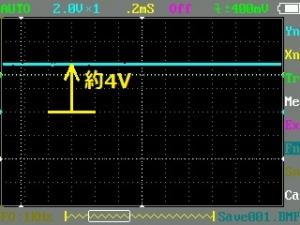 受光モジュールに5V供給したときのオシロ画像
