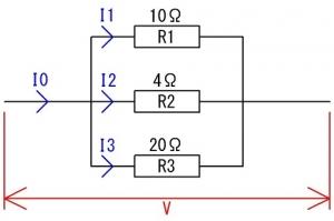 抵抗の並列回路にかかる電圧と流れる電流