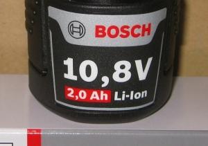 バッテリー容量10.8V2.0Ah