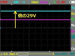 オシロで見た倍電圧整流後の直流