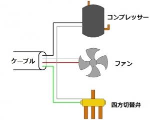 一定速機の室外機電気配線