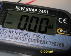 クランプメーターの数値は0.00mA