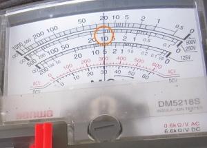 絶縁抵抗計250Vの指示値はテスター内部抵抗の10MΩ