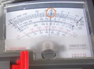 絶縁抵抗計500Vの指示値はテスター内部抵抗10MΩより若干低い9.5MΩ