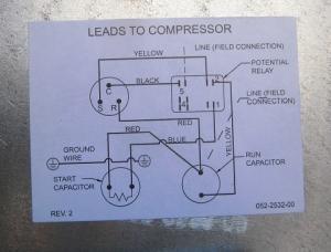 海外製コンプレッサーの電気配線図