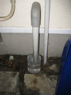 水受けを置いて再度ドレン排水試験