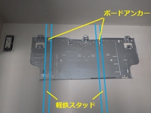 軽鉄スタッド部分へボードアンカーを使用した