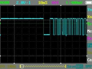 汎用品赤外線受信モジュールの出力波形